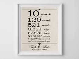 10th anniversary gift ideas 10 years together cotton gift print 10th anniversary gifts 10