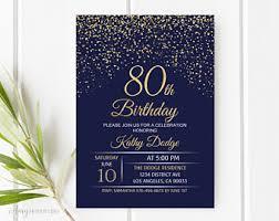 80th birthday invitations 80th birthday invitations etsy