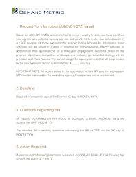 ad agency rfi template