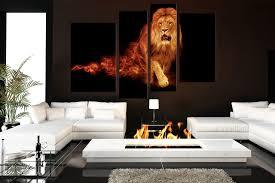 living room canvas 4 piece group canvas lion canvas wall art orange huge canvas print
