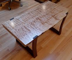 Slab Wood Table by Live Edge Curly Maple Slab Coffee Table With Curved Ipe Legs