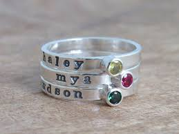 personalized stackable rings birthstone stacking ring name ring personalized stackable