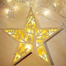 winter wooden led ornament by spotted