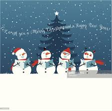 holiday christmas card with singing snowmen vector art getty images