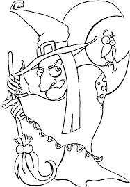 how to draw halloween witches step by step and colouring pages for