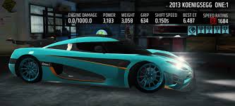 one 1 koenigsegg koenigsegg one 1 maxed various colors available u2013 racing rivals