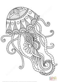 jellyfish zentangle coloring page free printable coloring pages