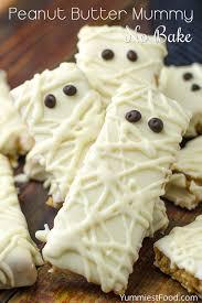 mummy halloween cake peanut butter mummy no bake recipe from yummiest food cookbook