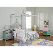 powell princess rebecca twin size canopy bed sparkle silver