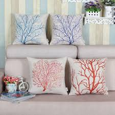 new tree shaped pillow cover cotton linen coral tree cushion case