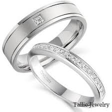 10k white gold wedding band his hers mens womens matching 10k white gold wedding bands