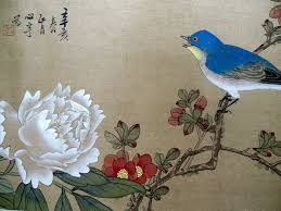 Japanese Flowers Paintings - lovely antique asian chinese bird flower painting signed tattoo