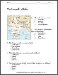 geography of india printable map worksheet student handouts