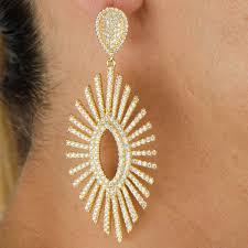 gold plated earrings fancy cz gold plated drop earrings
