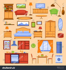Bedroom Furniture Items Colorful Furniture Items Set Furniture Collection Stock Vector