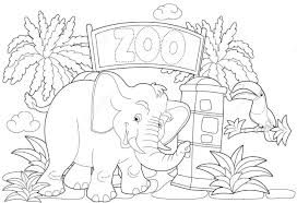 zoo small elephant coloring pages for kids gvc printable zoo
