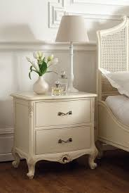 régency french mid 18th century ivory white 2 drawer bedside chest