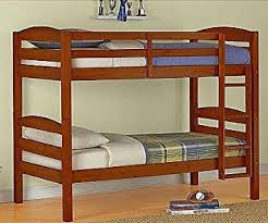 amazon com mainstays twin over twin wood bunk bed walnut