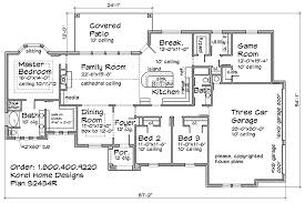 House Plans With Game Room Three Bedrooms Two Bath Three Car Garage With Game Room Island