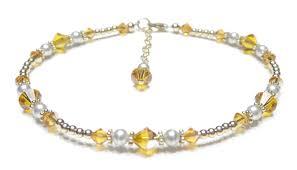 november birthstone jewelry handmade birthstone silver beaded anklets