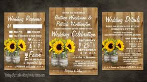 sunflower wedding sunflower wedding invitations vintage rustic wedding invitations