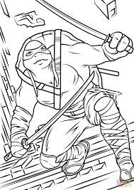 leonardo from teenage mutant ninja turtles 2 coloring page free
