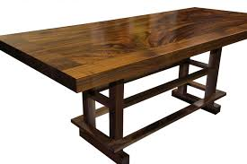 devos custom woodworking custom contemporary eclectic tables constructed using slab guanacaste with a face grain walnut band and a