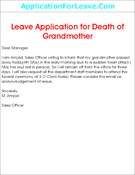 College Application Letter For Leave Leave Application For Grandmother Death Png