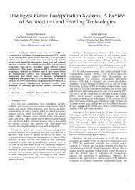 intelligent public transportation systems a review of
