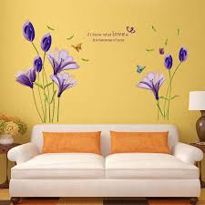 wall stickers purple flowers color the walls your house purple lily flower wall decals stickers bedroom lounge