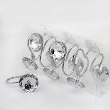 Rhinestone Shower Curtain Hooks Decorative 12pcs Glide Rings Curtain Hooks Fashion Durable
