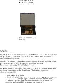 nrf24 2 4 ghz wireless control module user manual nrf24 rf module
