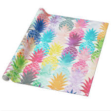 tropical wrapping paper hawaiian pineapple pattern tropical watercolor gift wrap paper