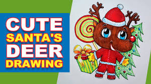 how to draw cute christmas deer with red nose christmas tree and