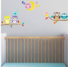 chambre hibou bébé chouette sur branche avec lune et stickers muraux oiseaux 5 x