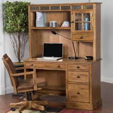 distressed oak single pedestal desk and hutch with slate by sunny