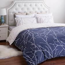 Plum Bed Set Navy Blue Plum Tree 3pc Duvet Bedding Set