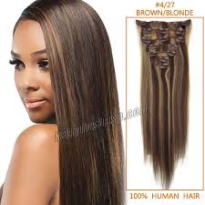 100 human hair extensions inch 4 27 brown clip in human hair extensions 10pcs