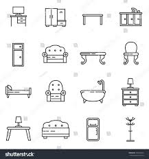 home interior icon set furniture collection stock vector 453654244