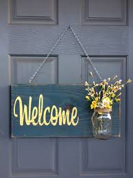 rustic outdoor welcome sign blue yellow mothers day gift