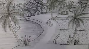 how to draw winter season village scenery with pencil sketch youtube