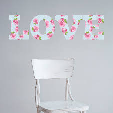 love shabby chic style wall sticker floral vintage art decal