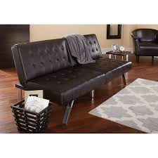 mainstays morgan faux leather tufted convertible futon brown