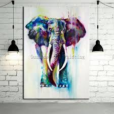 painted color animals oil painting hang paintings modern elephant
