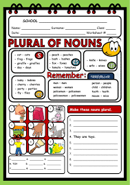 plural of nouns interactive worksheet