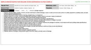 construction inspector resume bridge inspector resume sample