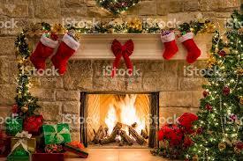 Christmas Stocking Tree Decoration christmas fireplace tree stockings fire hearth lights and
