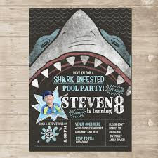shark party invitation chomp skark attack birthday card invite