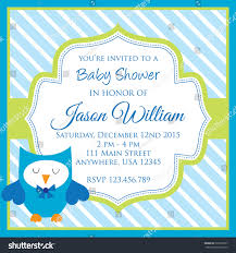 baby shower invitation cute owl blue stock vector 322568537