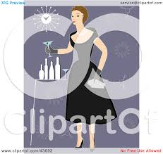 clipart illustration of a fifties woman in a black dress holding